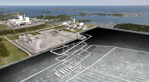 Genomskärning Kärnbränsleförvaret (bilden är ett montage).