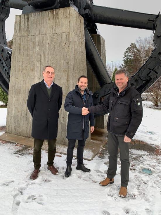 Sten Bergman, CTO Solör Bioenergi AG, Nicklas Eld, regionchef Solör Bioenergi Väst, Anders Malmström, VD Bionär Närvärme AB.