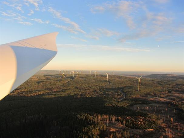 Jädraås vindkraftverk som NCC har anlagt