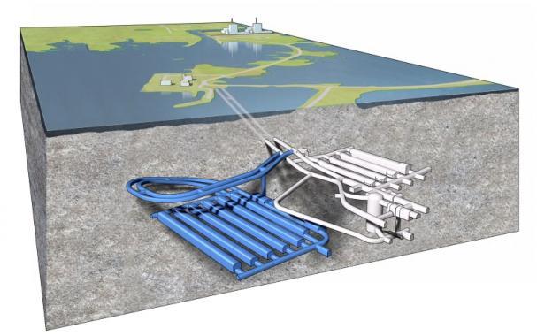 Illustration av utbyggt SFR, slutförvaret för kortlivat radioaktivt avfall.