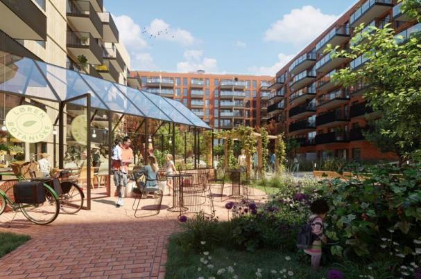 VIsionsillustration över det nya lägenhetsområdet Løren Botaniske i Oslo.