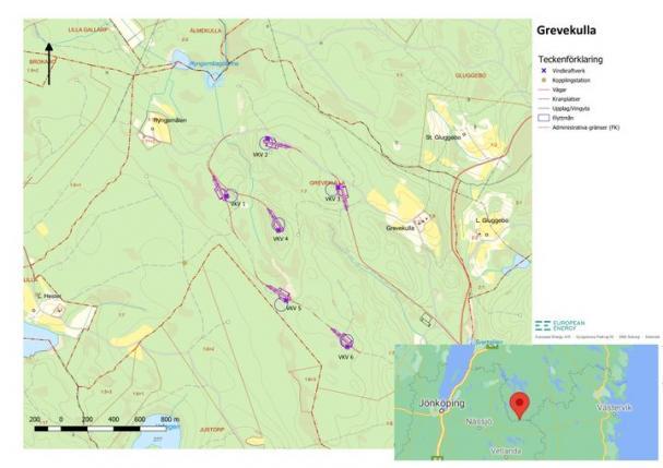 Karta över Grevekulla och vindkraftverkens placering.