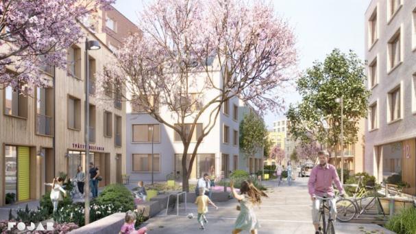 Visionsbild för den nya stadsdelen Tamarinden i Örebro.