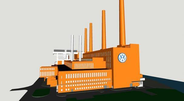Skiss av VW-koncernens produktionsanläggning i Wolfsburg som ska gå över från kol till gasdrift.