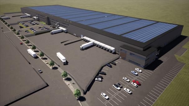 En av Nordeuropas största solcells-anläggningar kommer byggas på en av Castellum nyaste logistikanläggningar, Hisingen Logistikpark, utanför Göteborg (bilden är en illustration).