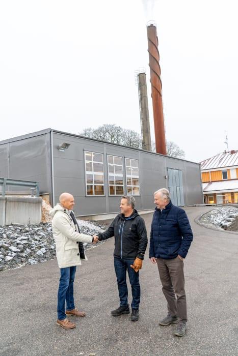 Jonas Sörensson från Solör Bioenergi, samt Magnus Strand och Sven Strand från MS Strand AB.