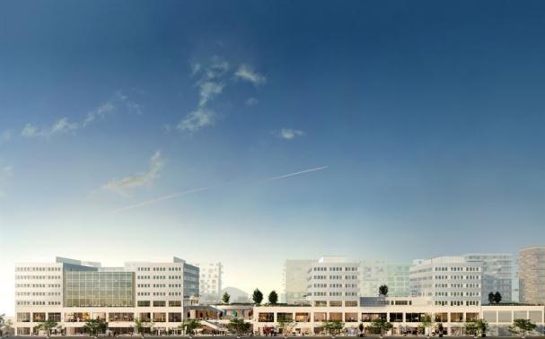 Visionsskiss över centralkvarteret i Umami Park (bilden är en illustration).