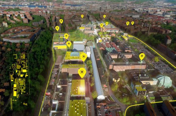 Chalmers Campus Johanneberg, med markeringar på de byggnader där solceller kommer att installeras på taken. Även de byggnader som redan har solceller är markerade.