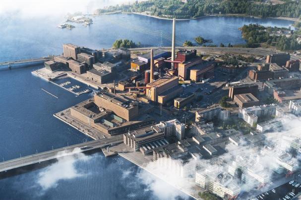 Datacentraler som värmekällor kan placeras i nedlagda kolkraftverk som det på Sundholmen i Helsingfors.
