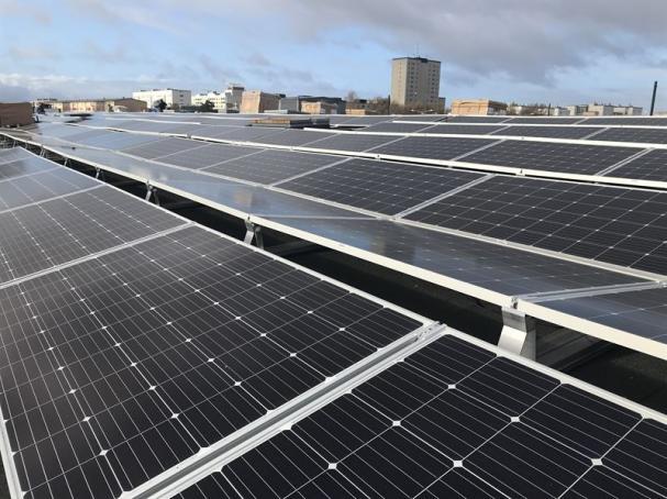 Solceller på tak i Mobilia.