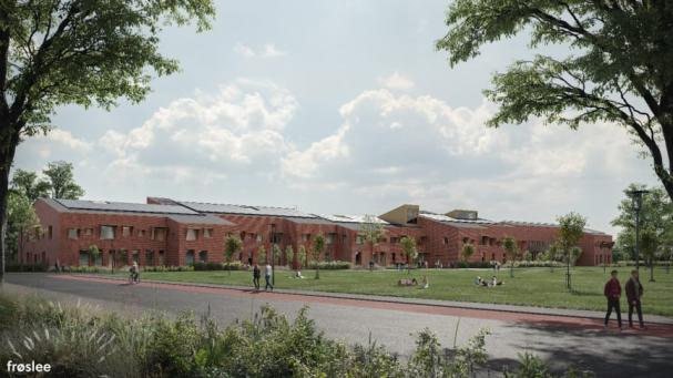 Visionsbild över nya Vikhemskolan (bilden är en illustration).