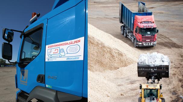 Länsförsäkringar, Lundstams och Återvinningscentralen samarbetar för avfallshantering och återvinning för lantbrukare. Jämtkraft halverade bolagets koldioxidutsläpp mellan 2016 och 2018 efter högre krav på sina transportleverantörer. Fotomontage.