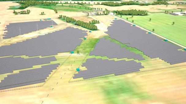 3D-grafik över solcellsparken i Skurup.