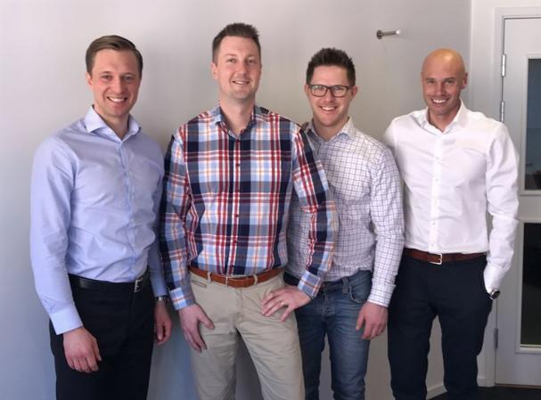 Gustaf Larsson Ernefelt, Simon Sandström, Marcus Hermansson och Johan Larsson.