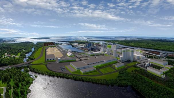 Metsä Fibres nya bioproduktfabrik i Kemi (bilden är en illustration).