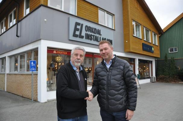Birger Steen, ordförande och delägare, Orkdal Installasjon AS och Petter Storhaug, regionchef i Bravida Midt Norge.