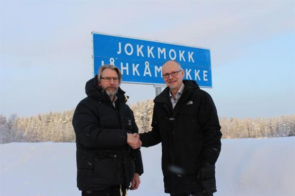 Jokkmokks kommunalråd Robert Bernhardsson och Christer Ljunggren, chef Vattenfall Vattenkraft.