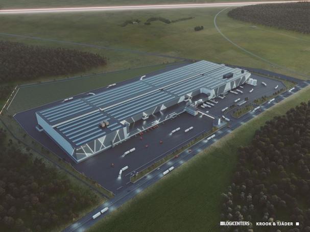 Visionsbild över Dagabs nya logistikcenter i Bålsta (bilden är en illustration).