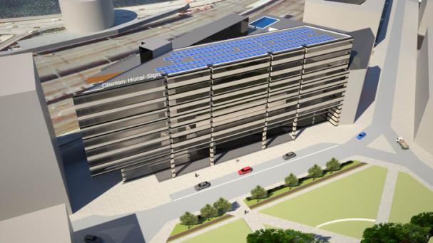 3D-skiss på solcellsanläggningen på Clarion Hotel Sign