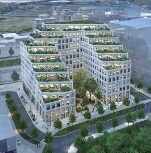 Hyllie Terrass blir 12 våningar högt. Inflyttning beräknas ske under våren 2023 (bilden är en illustration).