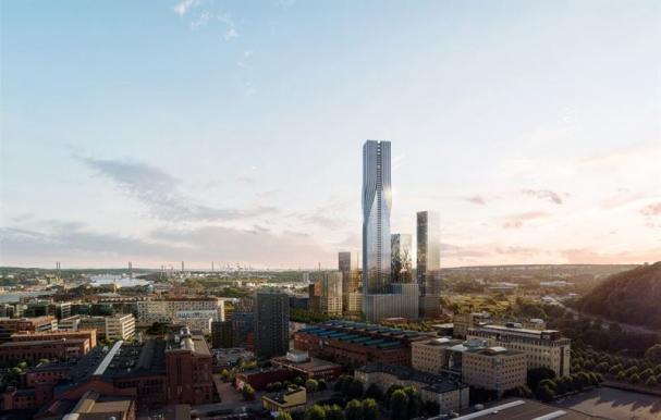 Visionsibild över Karlastaden, med Karlatornet som en del av Göteborgs framtida skyline (bilden är en illustration).