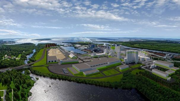 Visionsbild över Metsä Fibres nya bioproduktanläggning i Kemi, Finland (bilden är en illustration).