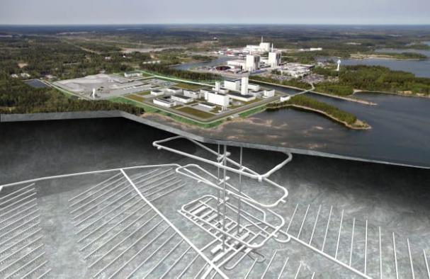 Fotomontage - genomskärning Kärnbränsleförvaret med tunnlar i sydostlig riktning.