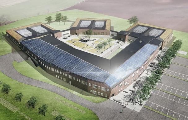 Den prisade solenergianläggningen på rättspsykiatriskt centrum utanför Trelleborg.