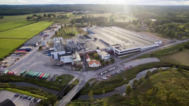 Drönarbild över Åbro Bryggeri i Vimmerby.