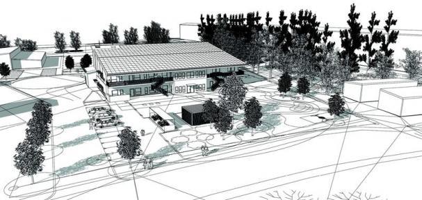 Skiss över Mariestads nya, hållbara förskola.